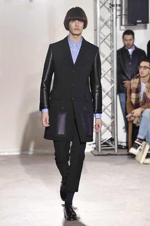 Clothing, Footwear, Leg, Trousers, Coat, Collar, Shoe, Outerwear, Style, Formal wear,