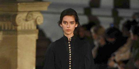 Shoulder, Joint, Outerwear, Jewellery, Fashion, Fashion model, Street fashion, One-piece garment, Fashion design, Runway,