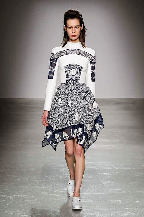 Clothing, Shoulder, Fashion show, Joint, Human leg, One-piece garment, Dress, Fashion model, Style, Runway,