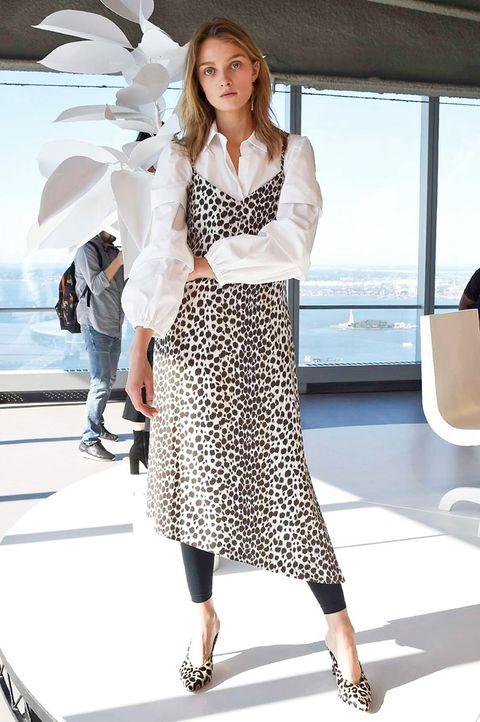 Clothing, Fashion model, White, Fashion, Street fashion, Dress, Footwear, Outerwear, Fashion design, Design,