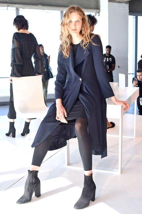 Clothing, Fashion, Street fashion, Footwear, Fashion model, Snapshot, Leg, Outerwear, Knee, Coat,