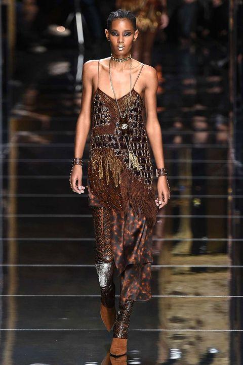 Fashion model, Fashion, Fashion show, Runway, Clothing, Dress, Haute couture, Shoulder, Fashion design, Cocktail dress,