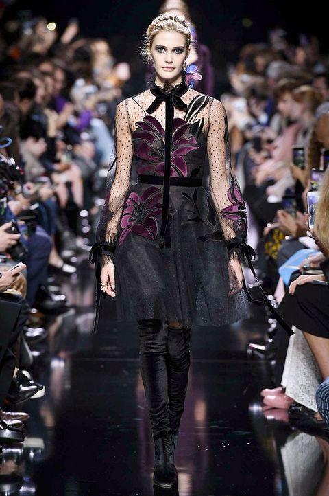 Fashion model, Fashion, Runway, Fashion show, Haute couture, Event, Public event, Fashion design, Gothic fashion, Performance,