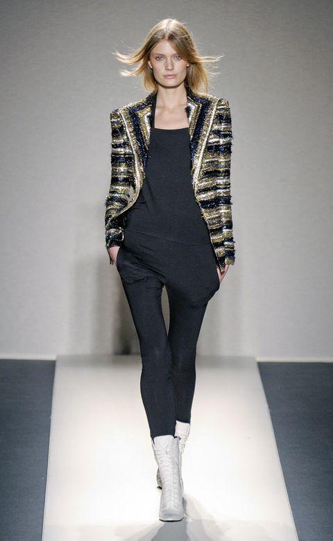 Clothing, Leg, Sleeve, Shoulder, Textile, Joint, Outerwear, Fashion show, Fashion model, Style,