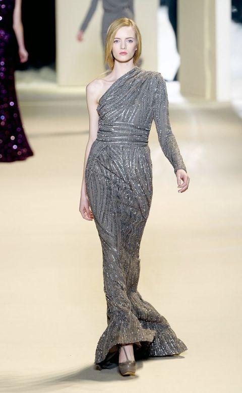 Clothing, Fashion show, Shoulder, Joint, Dress, Waist, Style, Fashion model, Runway, Fashion,