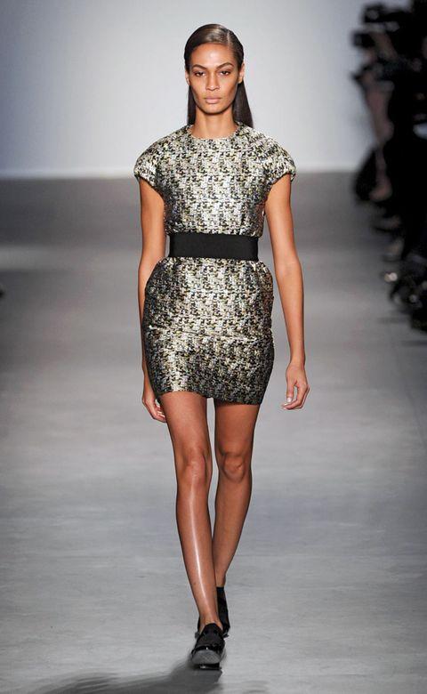 Clothing, Fashion show, Human leg, Shoulder, Runway, Joint, Dress, Fashion model, Waist, One-piece garment,