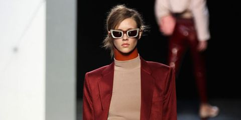 Eyewear, Vision care, Glasses, Sleeve, Trousers, Coat, Collar, Outerwear, Style, Fashion show,