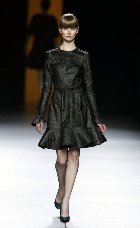 Clothing, Dress, Shoulder, Fashion show, Human leg, Textile, Joint, Fashion model, One-piece garment, Style,