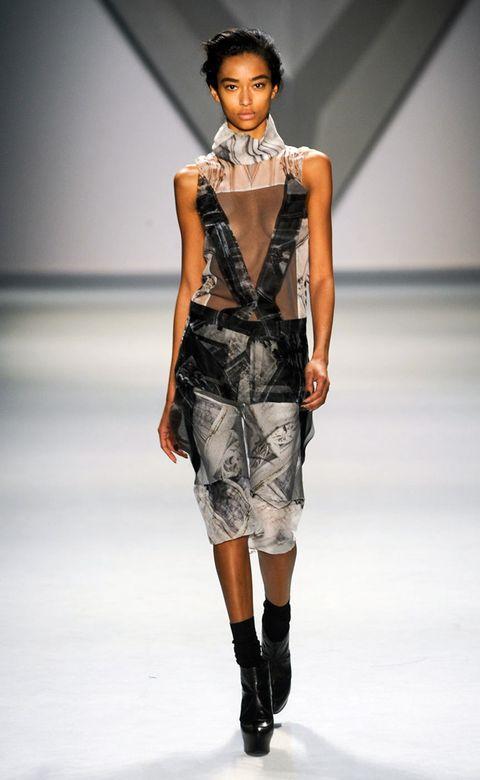 Clothing, Fashion show, Shoulder, Runway, Joint, Fashion model, Style, Dress, Waist, Fashion,