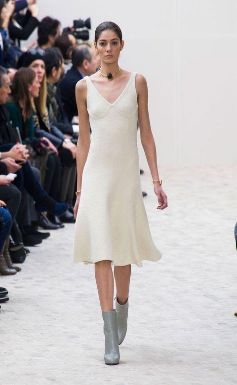 Clothing, Leg, Human body, Shoulder, Fashion show, Dress, Joint, White, Style, Fashion model,
