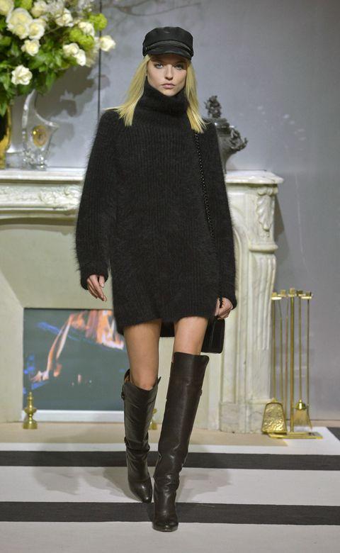 Clothing, Leg, Outerwear, Boot, Dress, Style, Knee-high boot, Knee, Headgear, Fashion,