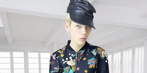Blue, Sleeve, Human body, Joint, Style, Collar, Pattern, Street fashion, Headgear, Fashion,