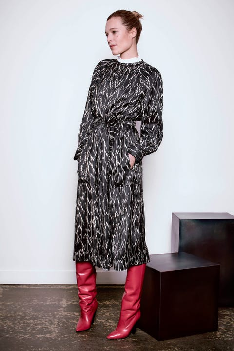 Sleeve, Shoulder, Textile, Joint, Dress, Style, Pattern, Street fashion, One-piece garment, Boot,