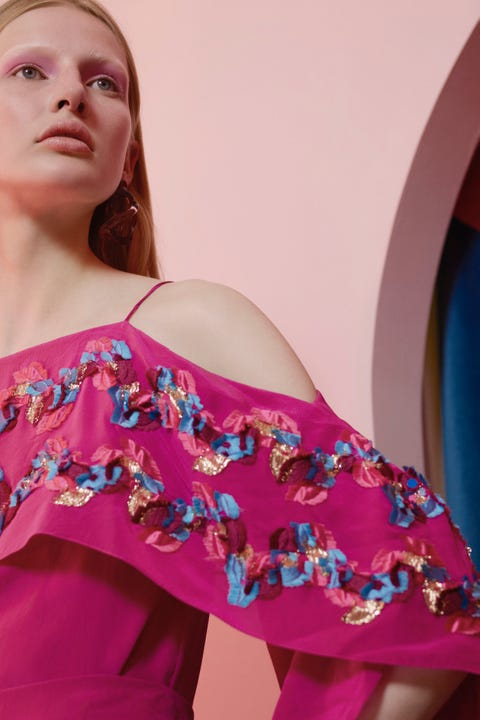 Shoulder, Clothing, Pink, Joint, Magenta, Beauty, Dress, Long hair, Textile, Model,