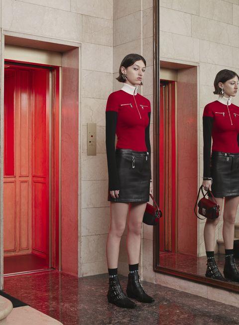 Clothing, Footwear, Leg, Sleeve, Human leg, Red, Standing, Joint, Outerwear, Waist,