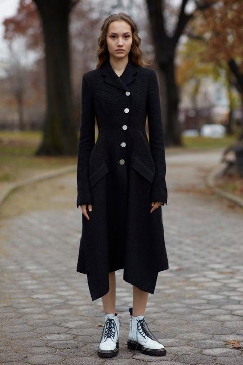 Clothing, Coat, Street fashion, Fashion, Overcoat, Footwear, Outerwear, Trench coat, Shoe, Fashion model,