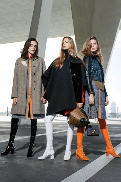 Clothing, Leg, Winter, Textile, Outerwear, Style, Street fashion, Coat, Orange, Boot,