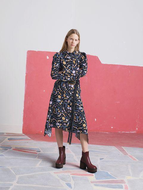 Clothing, Fashion, Pink, Dress, Shoulder, Footwear, Fashion design, Leg, Outerwear, Fashion model,