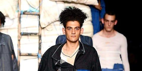 Blue, Leg, Trousers, Denim, Standing, Style, Street fashion, Fashion, Black hair, Jacket,