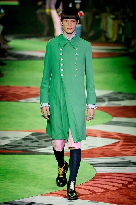 Green, Outerwear, Hat, Fashion show, Style, Jewellery, Street fashion, Runway, Fashion, Fashion model,