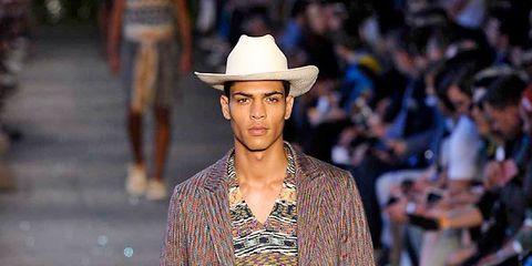 Clothing, Human, Brown, Hat, Joint, Style, Street fashion, Fashion show, Sun hat, Fashion,