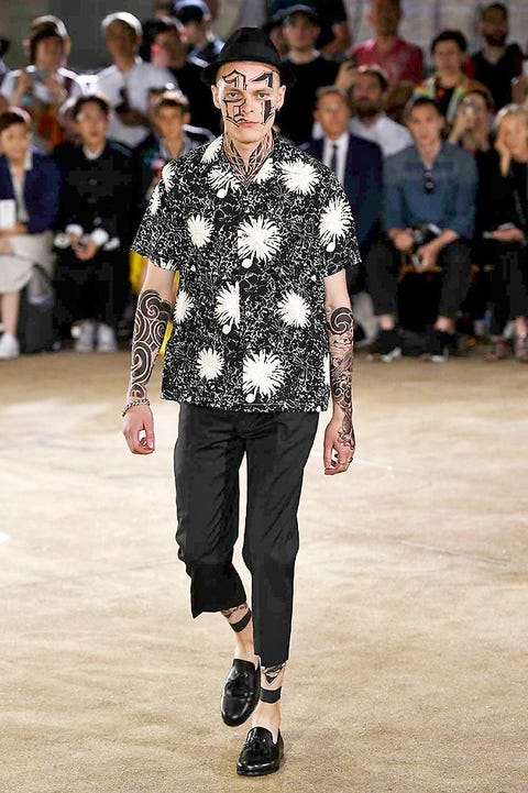 Clothing, Footwear, Fashion show, Trousers, Human body, Shoulder, Hat, Joint, Outerwear, Runway,