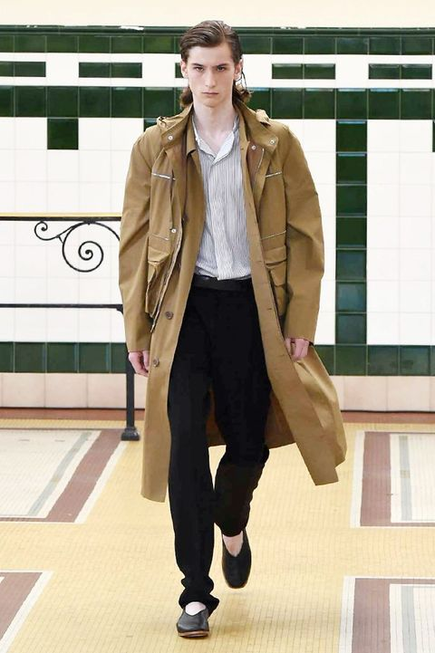 Clothing, Brown, Sleeve, Trousers, Jacket, Collar, Shoe, Textile, Outerwear, Bag,