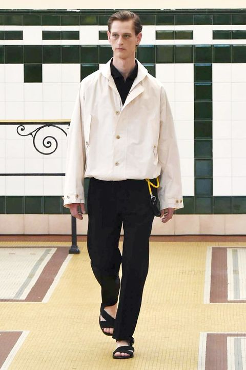 Dress shirt, Collar, Sleeve, Shirt, Formal wear, Flooring, Suit trousers, Pocket, Street fashion, Uniform,