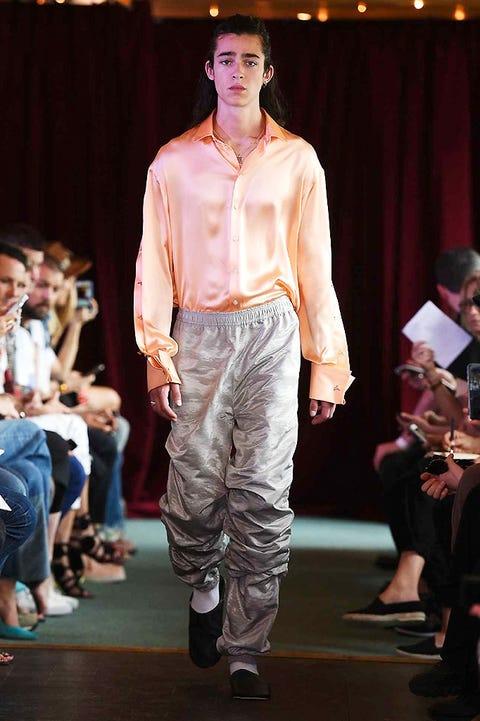 Footwear, Leg, Human body, Trousers, Dress shirt, Fashion show, Shirt, Outerwear, Runway, Style,