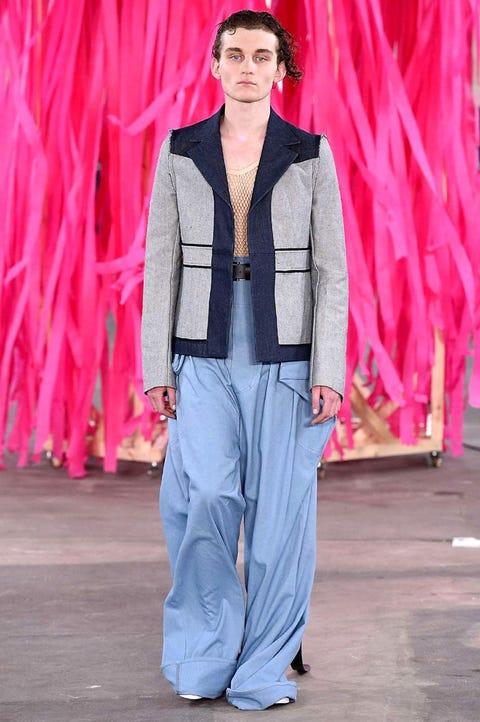 Fashion, Clothing, Fashion show, Fashion model, Pink, Runway, Jeans, Street fashion, Haute couture, Denim,