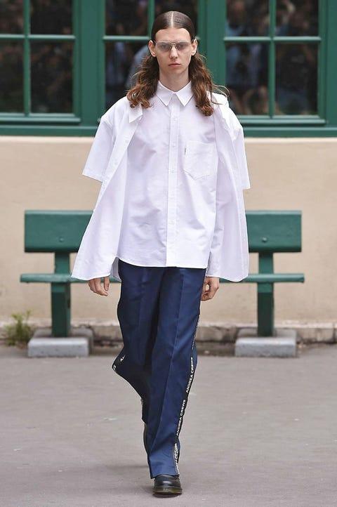 Clothing, White, Fashion, Street fashion, Fashion model, Fashion show, Outerwear, Snapshot, Shoulder, Neck,
