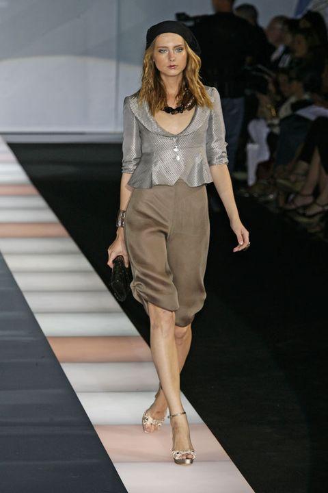 Clothing, Leg, Fashion show, Brown, Event, Human leg, Shoulder, Runway, Joint, Fashion model,