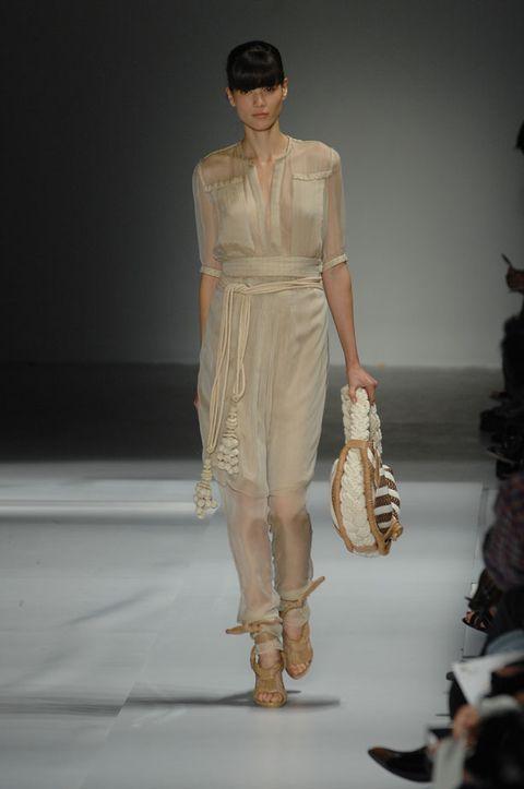 Brown, Sleeve, Shoulder, Joint, Style, Fashion model, Fashion show, Fashion, Waist, Runway,