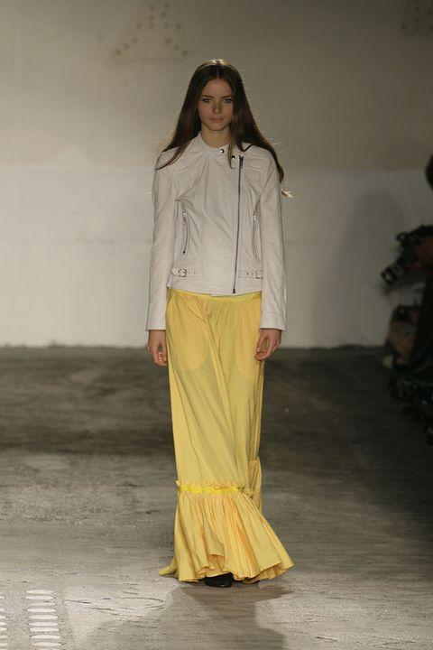 Yellow, Sleeve, Human body, Textile, Waist, Trunk, Street fashion, Fashion design, Long hair, Fashion model,
