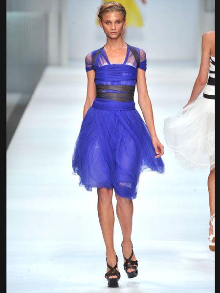 Blue, Fashion show, Event, Shoulder, Human leg, Joint, Dress, Runway, Fashion model, Style,