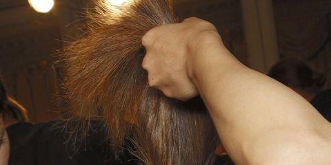 Hair, Ear, Finger, Hairstyle, Forehead, Wrist, Beauty salon, Hand, Hairdresser, Eyelash,