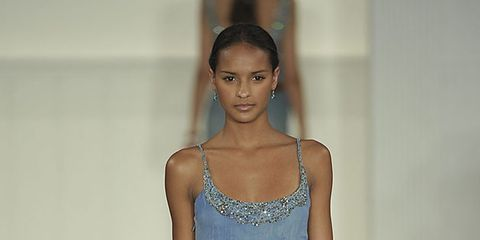 Clothing, Blue, Shoulder, Dress, Textile, Human leg, Joint, White, One-piece garment, Style,