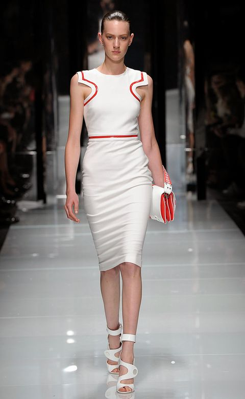 Fashion show, Shoulder, Dress, Human leg, Joint, Runway, Red, Fashion model, Style, Waist,
