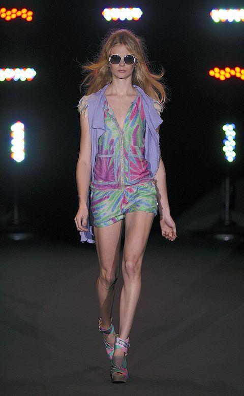 Clothing, Eyewear, Vision care, Sunglasses, Fashion show, Style, Pink, Fashion model, Thigh, Fashion,