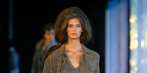 Brown, Shoulder, Fashion show, Human leg, Joint, Outerwear, Style, Fashion model, Runway, Street fashion,