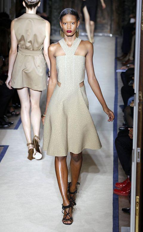 Clothing, Footwear, Leg, Shoulder, Dress, Fashion show, Human leg, Joint, Fashion model, Style,
