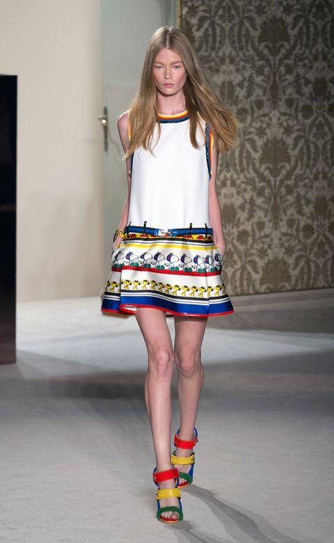 Clothing, Yellow, Human leg, Shoulder, Joint, Style, Pattern, One-piece garment, Street fashion, Fashion model,
