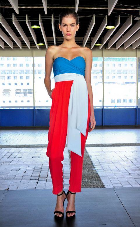 Blue, Shoulder, Fashion show, Textile, Joint, Red, Human leg, Dress, Fashion model, Style,