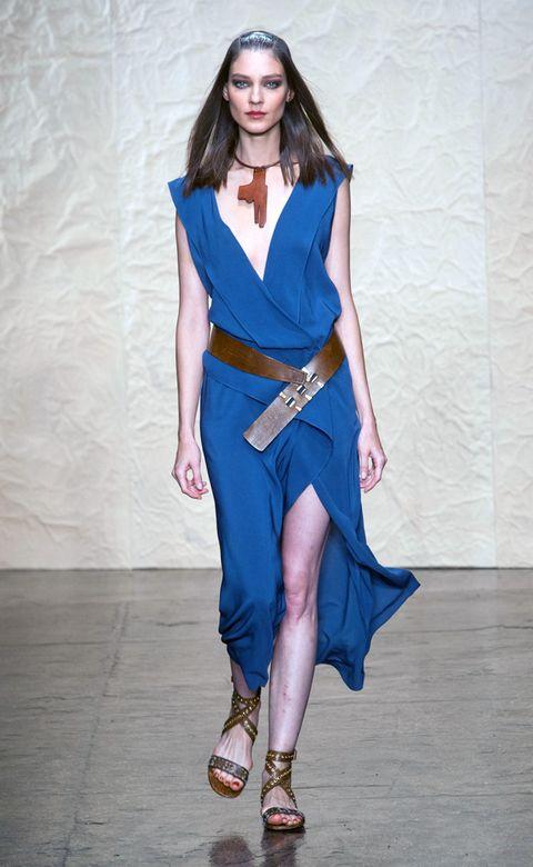 Clothing, Blue, Shoulder, Fashion show, Joint, Human leg, Style, Fashion accessory, High heels, Sandal,