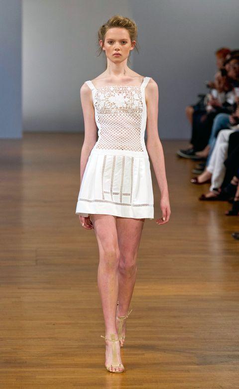Brown, Shoulder, Fashion show, Human leg, Joint, Flooring, Floor, Style, Waist, Dress,
