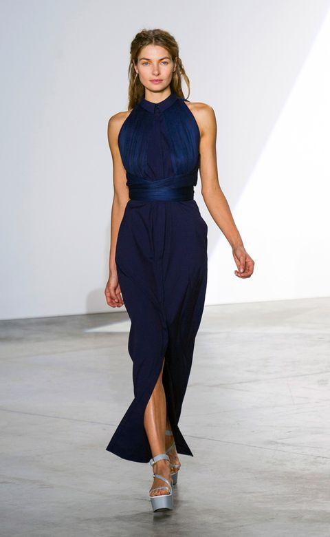 Clothing, Dress, Shoulder, Fashion show, Human leg, Joint, One-piece garment, Formal wear, Style, Fashion model,