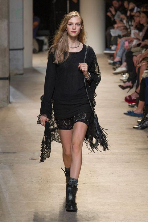Clothing, Footwear, Shoulder, Fashion show, Joint, Human leg, Outerwear, Style, Runway, Street fashion,