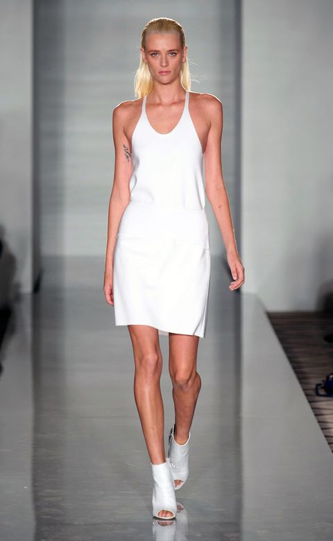 Clothing, Skin, Human leg, Shoulder, Dress, Joint, White, One-piece garment, Fashion show, Style,