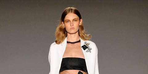 Shoulder, Fashion show, Style, Fashion model, Runway, Waist, Fashion, Youth, Model, Sandal,
