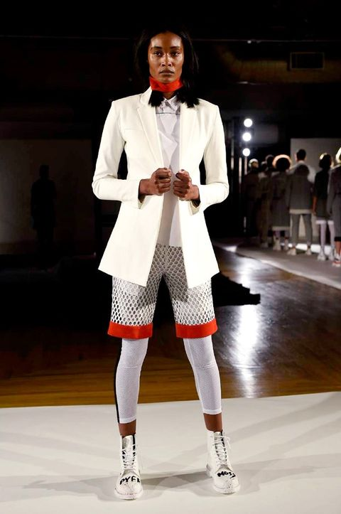 Sleeve, Fashion show, Shoe, Outerwear, Collar, Runway, Style, Fashion model, Coat, Blazer,